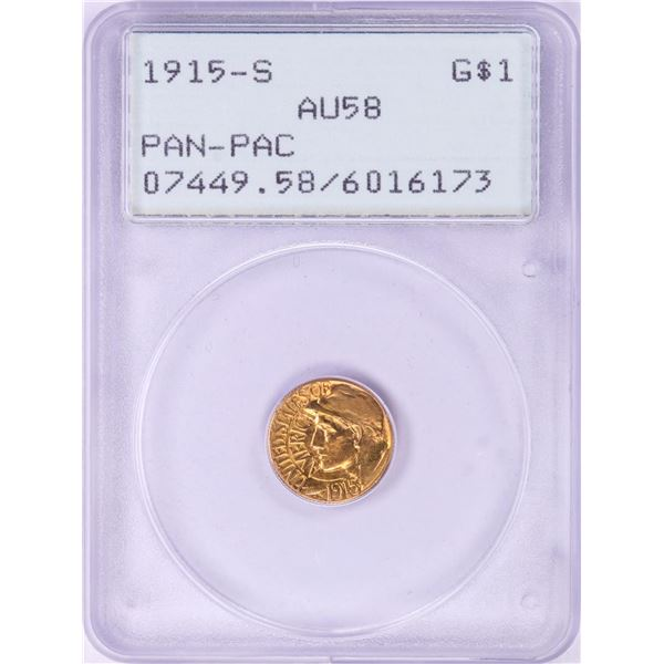 1915-S $1 Pan Pac Commemorative Gold Dollar Coin PCGS AU58 Green Rattler Holder