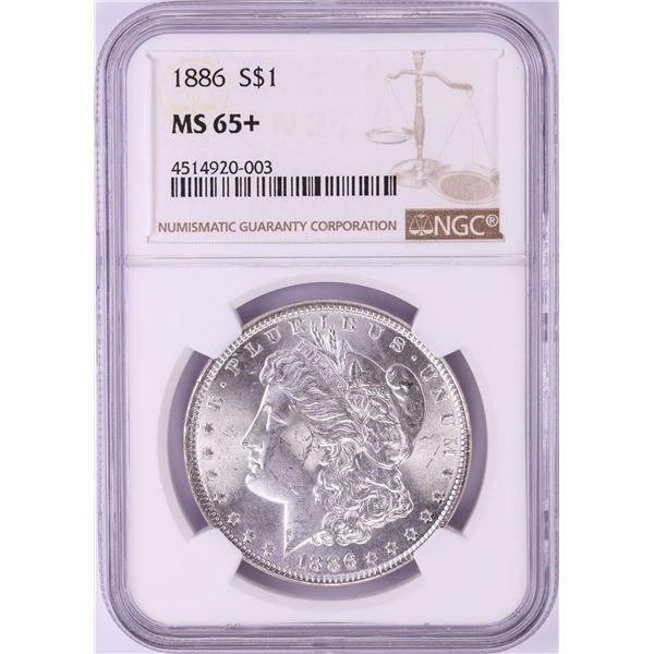 1886 $1 Morgan Silver Dollar Coin NGC MS65+