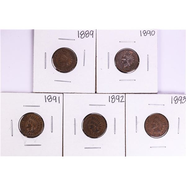 Lot of 1889-1893 Indian Head Cent Coins
