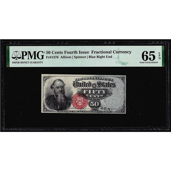 1863 Fourth Issue 50 Cent Fractional Currency Note Fr.1376 PMG Gem Uncirculated 65EPQ