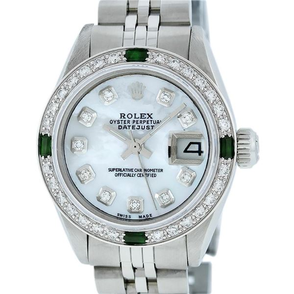 Rolex Ladies Stainless Steel Mother Of Pearl Diamond & Emerald Datejust Wristwatch