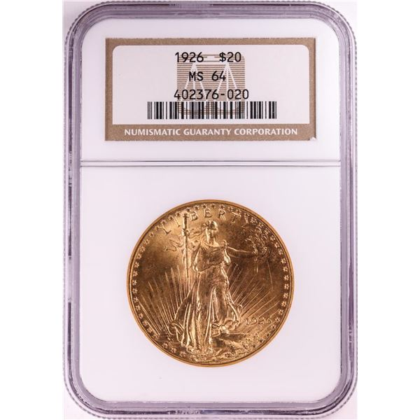 1926 $20 St. Gaudens Double Eagle Gold Coin NGC MS64