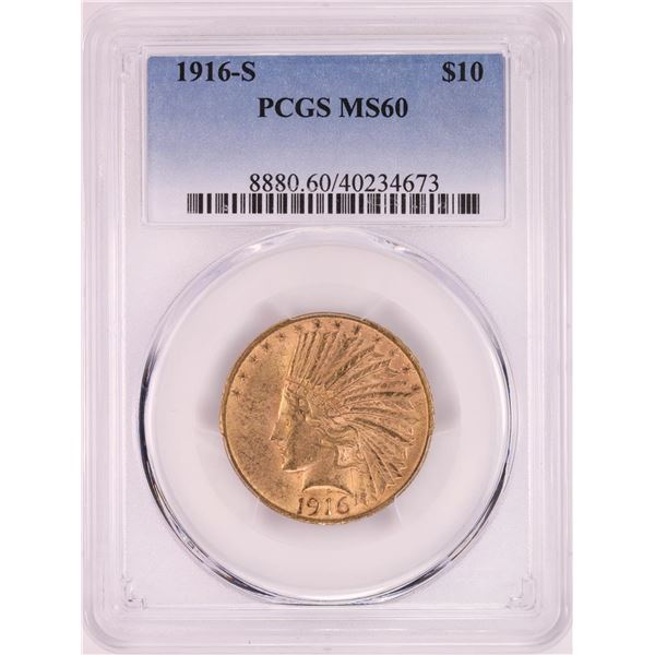 1916-S $10 Indian Head Eagle Gold Coin PCGS MS60