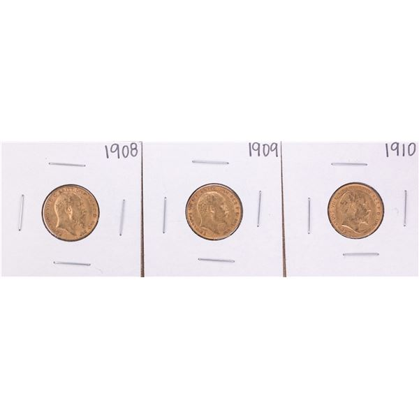 Lot of 1908-1910 Great Britain Half Sovereign Gold Coins