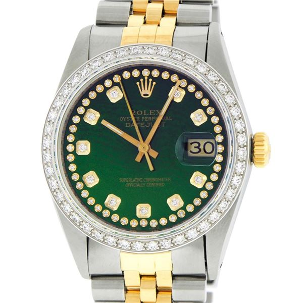 Rolex Mens Two Tone Green Vignette Diamond Oyster Perpetual Datejust Wristwatch
