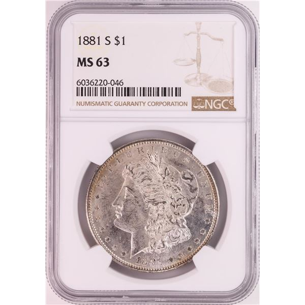1881-S $1 Morgan Silver Dollar Coin NGC MS63 Great Toning