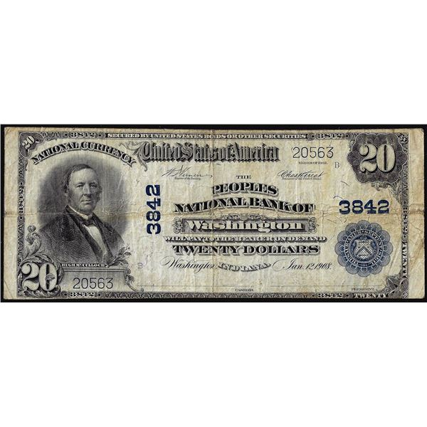 1902PB $20 Peoples National Bank of Washington, IN CH# 3842 National Currency Note