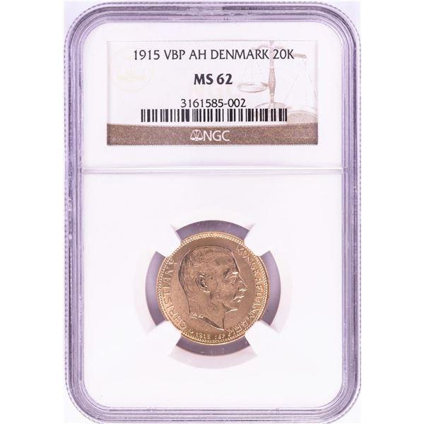 1915 VBP AH Denmark 20 Kroners Gold Coin NGC MS62