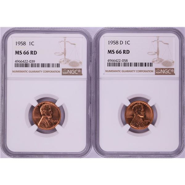 Lot of 1958 & 1958-D Lincoln Wheat Cent Coins NGC MS66RD