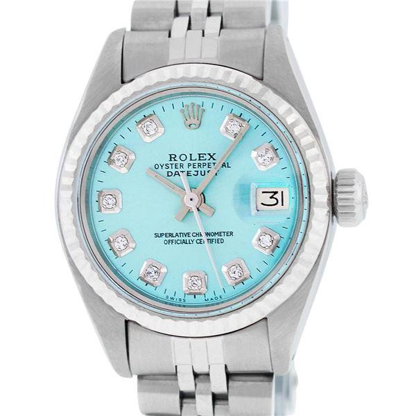 Rolex Ladies Stainless Steel Ice Blue Diamond Datejust Wristwatch Serviced