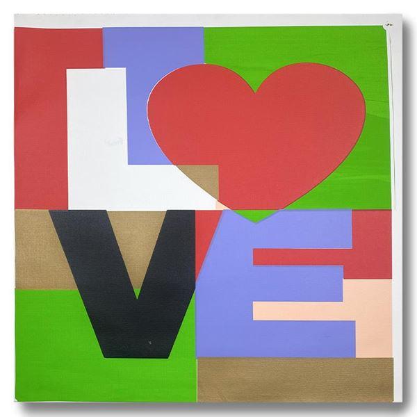 "Steve Kaufman (1960-2010) ""LOVE"" Original Mixed Media on Canvas"