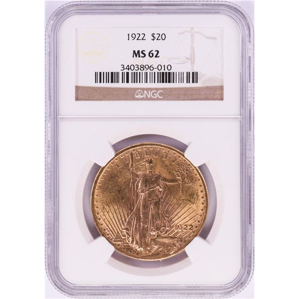 1922 $20 St. Gaudens Double Eagle Gold Coin NGC MS62