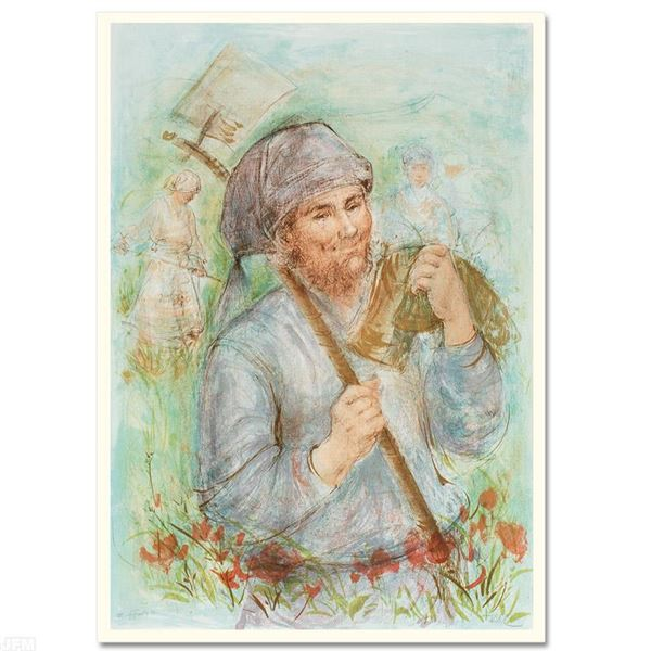 """Edna Hibel (1917-2014) """"Man with Hoe"""" Limited Edition Lithograph"""