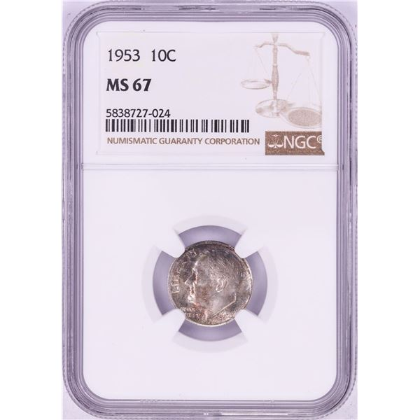 1953 Roosevelt Dime Coin NGC MS67