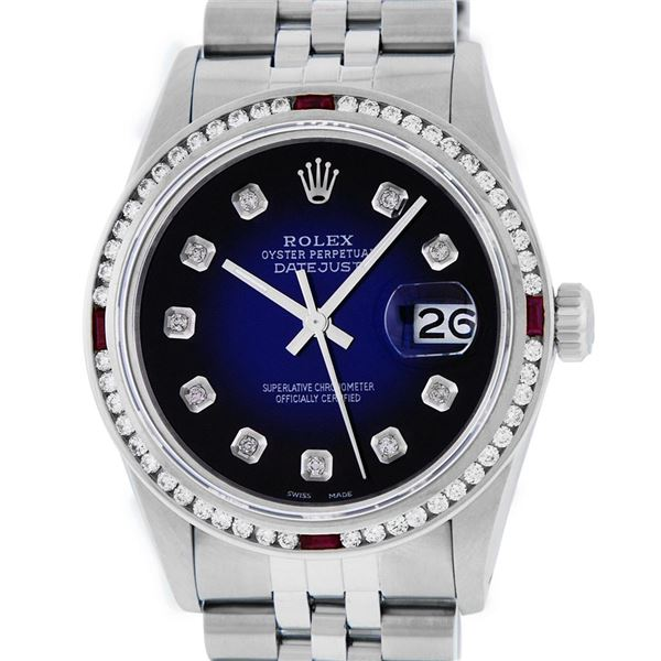 Rolex Mens Stainless Steel Blue Vignette Diamond & Ruby Oyster Perpetual Datejust