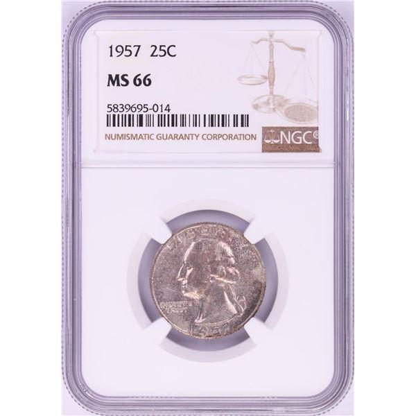 1957 Washington Quarter Coin NGC MS66 Nice Toning
