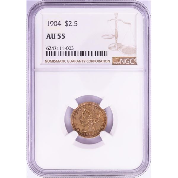1904 $2 1/2 Liberty Head Quarter Eagle Gold Coin NGC AU55