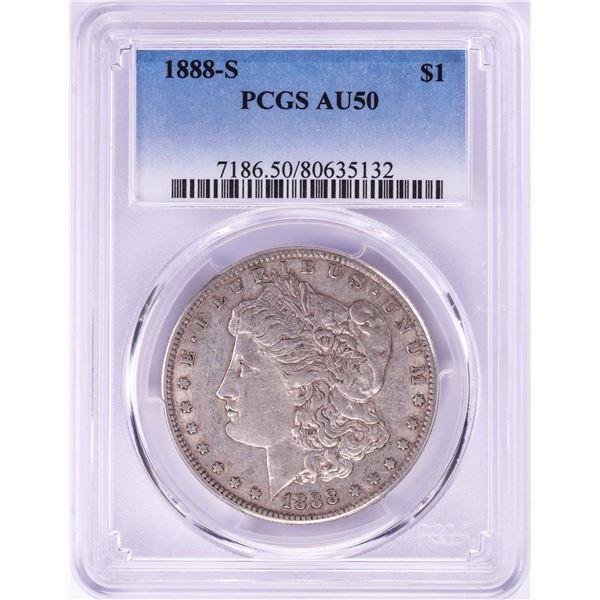 1888-S $1 Morgan Silver Dollar Coin PCGS AU50