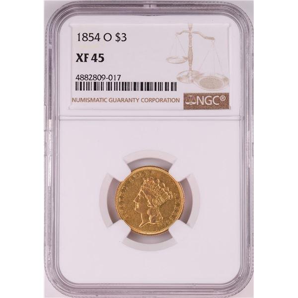1854-O $3 Indian Princess Head Fold Coin NGC XF45