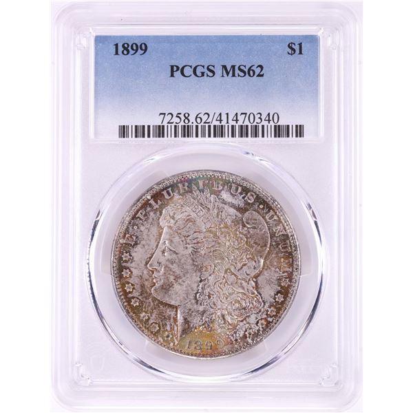 1899 $1 Morgan Silver Dollar Coin PCGS MS62 Amazing Toning