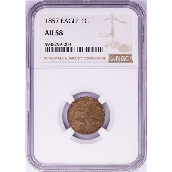 1857 Flying Eagle Cent Coin NGC AU58