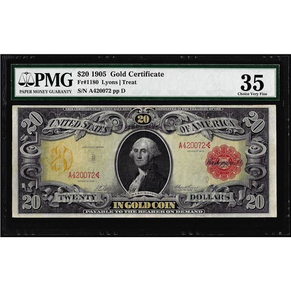1905 $20 Technicolor Gold Certificate Note Fr.1180 PMG Choice Very Fine 35