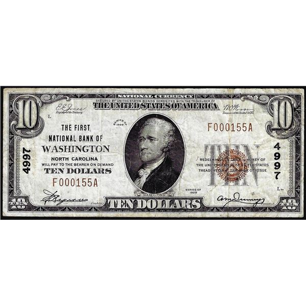 1929 $10 First NB of Washington, North Carolina CH# 4997 National Currency Note