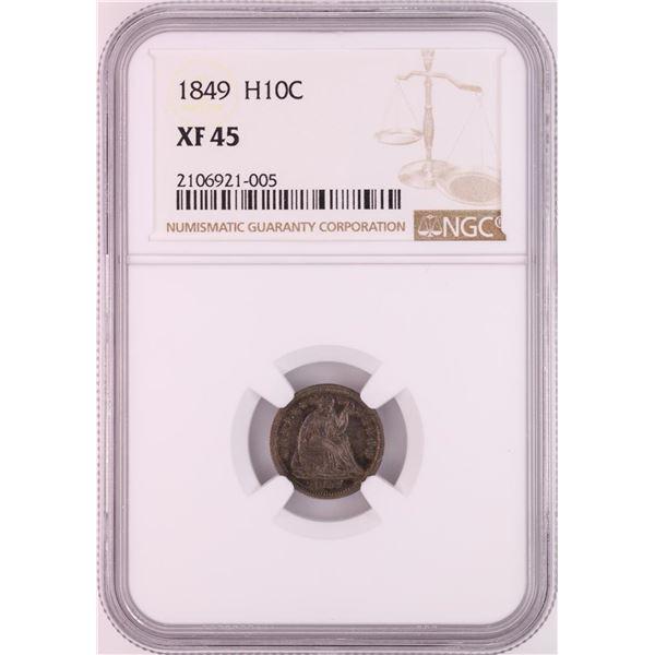1849 Seated Liberty Half Dime Coin NGC XF45