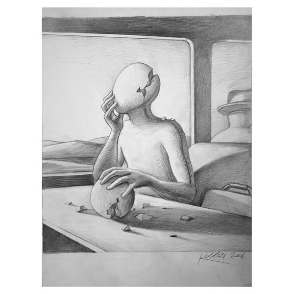 """Kostabi """"The Weight of the World"""" Original Pencil on Paper"""