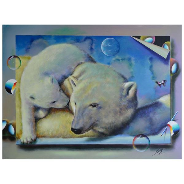 "Ferjo ""Polar Bear Love"" Original Oil on Canvas"