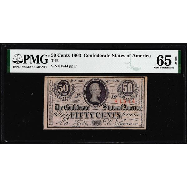 1863 Fifty Cents Confederate States of America Note T-63 PMG Gem Uncirculated 65EPQ