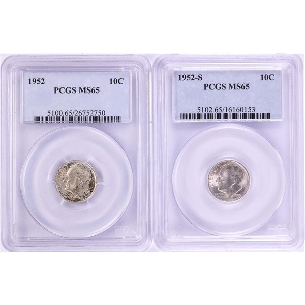 Lot of 1952 & 1952-S Roosevelt Dime Coins PCGS MS65