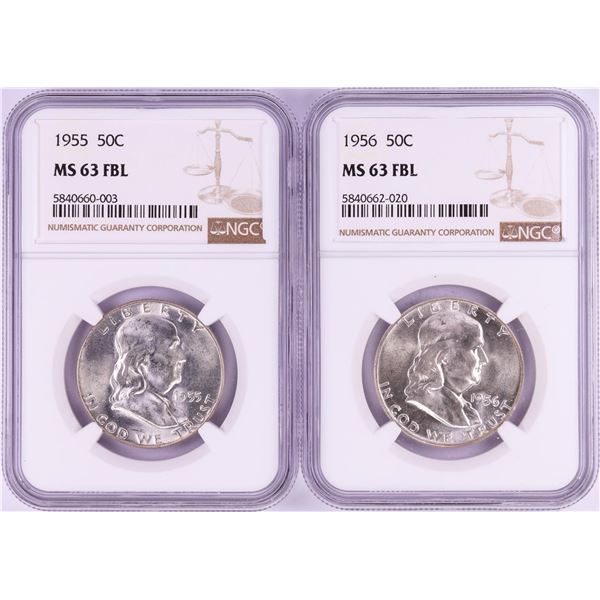 Lot of 1955-1956 Franklin Half Dollar Coins NGC MS63FBL