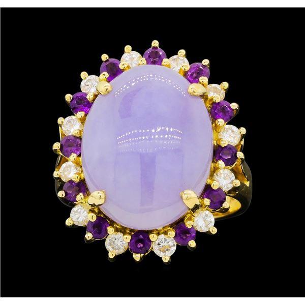 14KT Yellow Gold Ladies 6.32 ctw Jade, Amethyst, and Diamond Ring