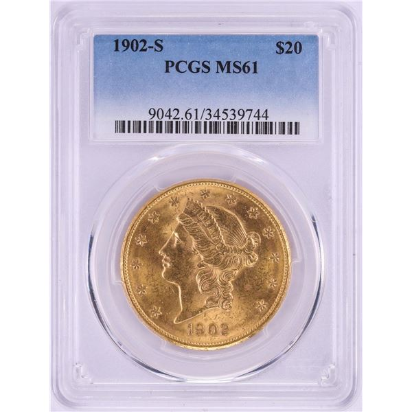 1902-S $20 Liberty Head Double Eagle Gold Coin PCGS MS61