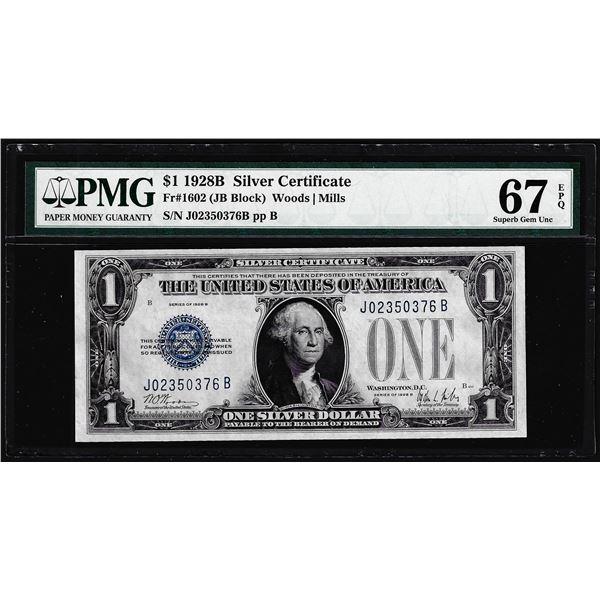 1928B $1 Funnyback Silver Certificate Note Fr.1602 PMG Superb Gem Uncirculated 67EPQ