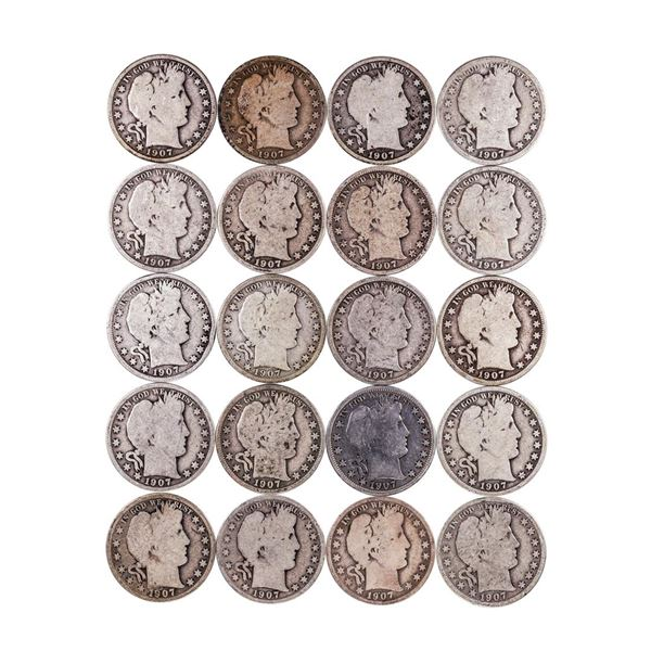 Roll of (20) 1907-P/D/O/S Barber Half Dollar Coins