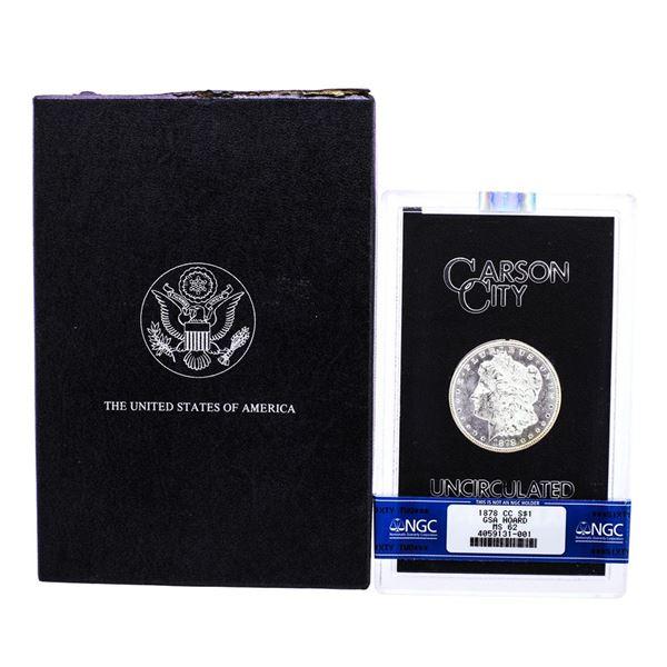 1878-CC $1 Morgan Silver Dollar Coin GSA Hoard NGC MS62 w/Box & COA