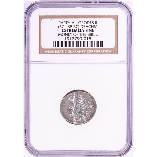 57-38 BC Orodes II Drachm Ancient Coin NGC Extremely Fine