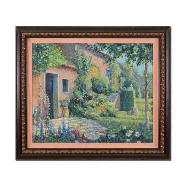 """Christian Title (1932-2020) """"Italian Villa- Framed"""" Limited Edition Serigraph on Canvas"""