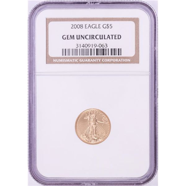 2008 $5 American Gold Eagle Coin NGC Gem Uncirculated