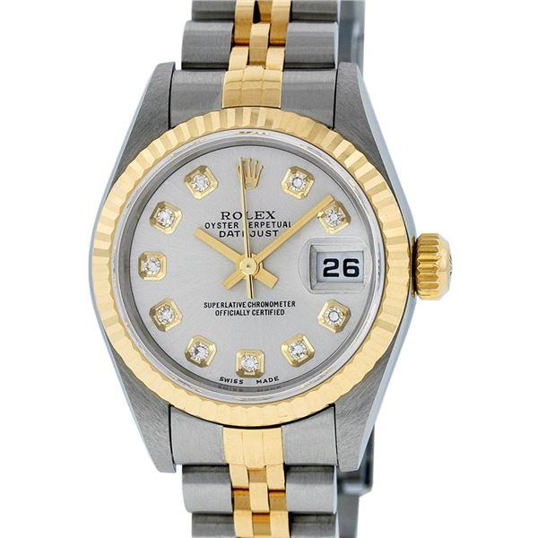 Rolex Ladies Two Tone Diamond Quickset Oyster Perpetual Datejust Wristwatch