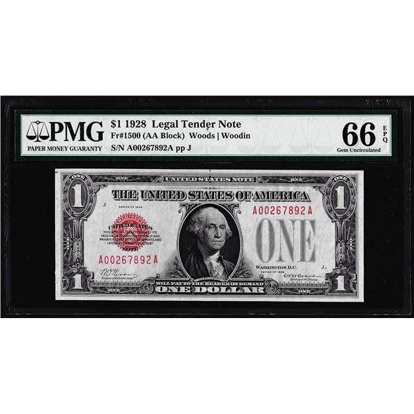 1928 $1 Legal Tender Note Fr.1500 PMG Gem Uncirculated 66EPQ