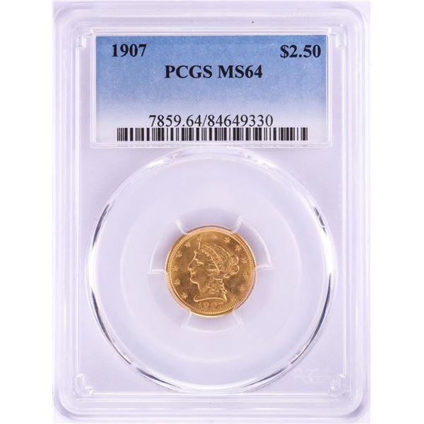 1907 $2 1/2 Liberty Head Quarter Eagle Gold Coin PCGS MS64