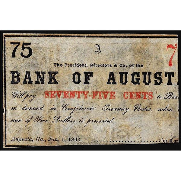 1863 Bank of Augusta Seventy-Five Cents Obsolete Bank Note