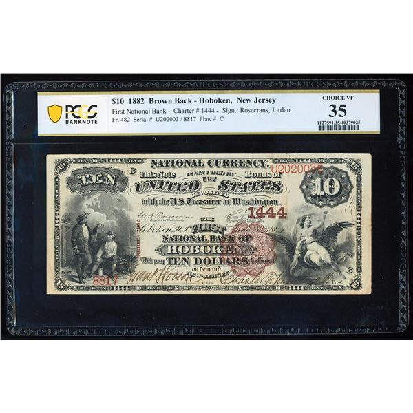 1882BB $10 First NB Hoboken, NJ CH# 1444 National Note PCGS Choice Extremely Fine 35