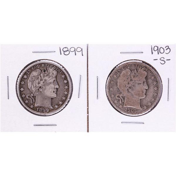 Lot of 1899 & 1903-S Barber Half Dollar Coins