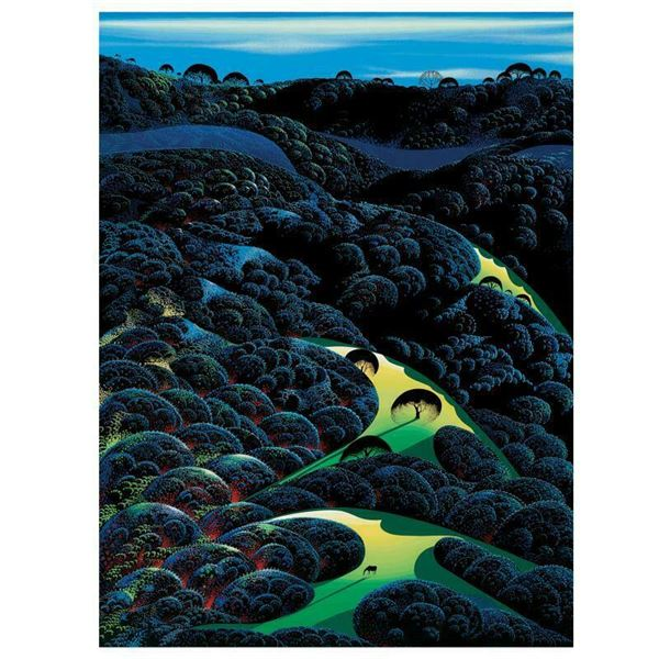 """Eyvind Earle (1916-2000) """"Three Pastures On A Hillside"""" Limited Edition Serigraph"""
