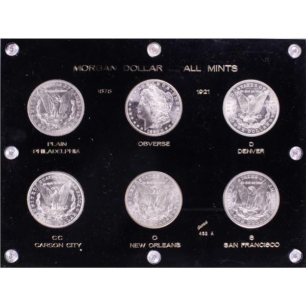 Lot of (6) $1 Morgan Silver Dollar Coins All Mints in Holder