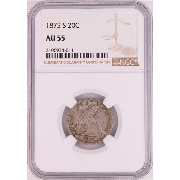 1875-S Twenty Cent Piece Coin NGC AU55